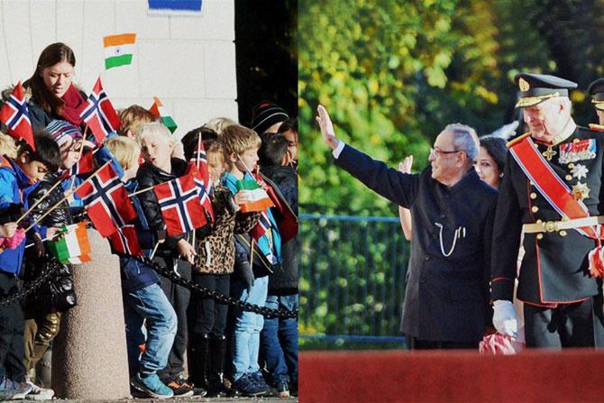 राष्ट्रपती प्रणब मुखर्जी सध्या नॉर्वेच्या दौ-यावर असून ऑस्लो येथील रॉयल पॅलेस येथे त्यांचे जंगी स्वागत करण्यात आले. (पीटीआय)