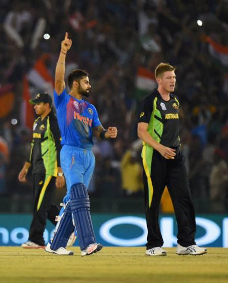 India's Virat Kohli celebrates after winning their match. (REUTERS)