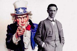 जे. एम. फ्लॅग या चित्रकाराने १९१७ मध्ये चितारलेल्या अंकल सॅमसह जॉर्ज क्रील. क्रील समितीने युद्धप्रचारासाठी अशी अनेक चित्रे काढून घेतली होती.