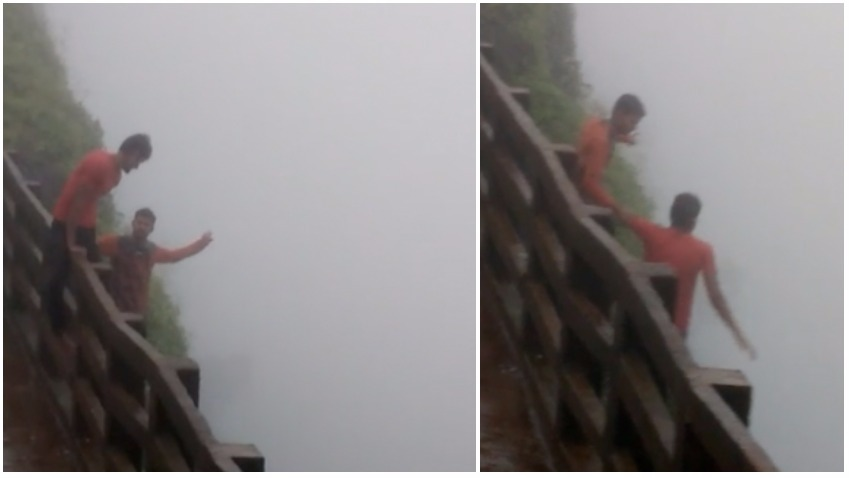 Two youth fall from cliff in Amboli ghat , mishap, viral video , doing stunts after drinking alcohol , rain, monsoon, loksatta, Loksatta news, Marathi, Marathi news