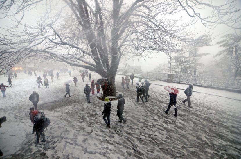शिमला येथे नुकतीच बर्फ पडण्यास सुरुवात झाली असून याठिकाणचे तापमान उणेमध्ये गेले आहे. मोठ्या प्रमाणात थंडी असली तरी येथील दृश्य नयनमनोहारी दिसत आहेत. (छायासौजन्य - पीटीआय)