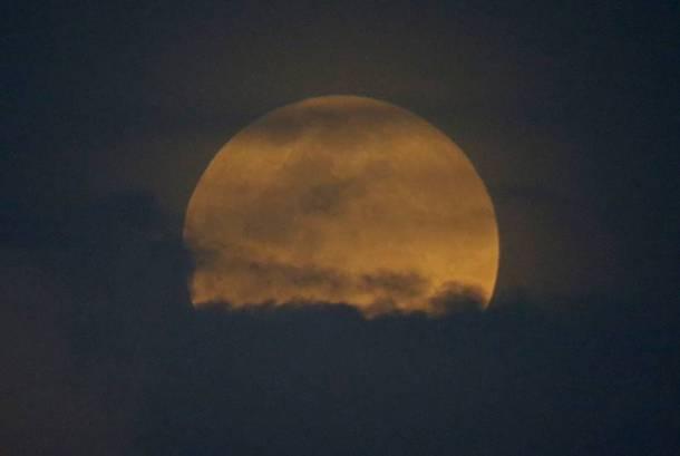 खग्रास स्थितीमध्ये संपूर्ण चंद्रबिंब पृथ्वीच्या छायेत आल्याने चंद्रबिंब लाल दिसत  होते. (छाया सौजन्य : पार्थ पॉल)