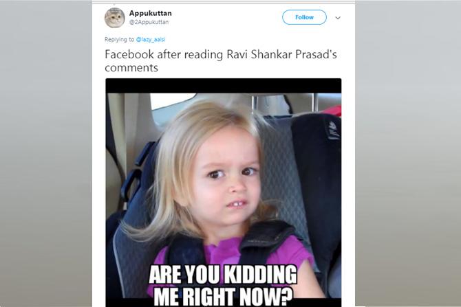 माहिती व तंत्रज्ञान मंत्री रवी शंकर प्रसाद यांनी फेसबुकवर भारतीय कायद्याअंतर्गत कारवाई करण्याचा इशारा दिला आहे. या इशाऱ्यानंतर नेटकऱ्यांची पहिली प्रतिक्रिया