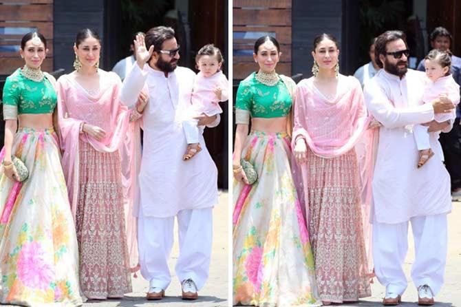 करिना कपूर खान, सैफ अली खान, तैमुर आणि अभिनेत्री करिष्मा कपूर (छाया- अमित चक्रवर्ती)