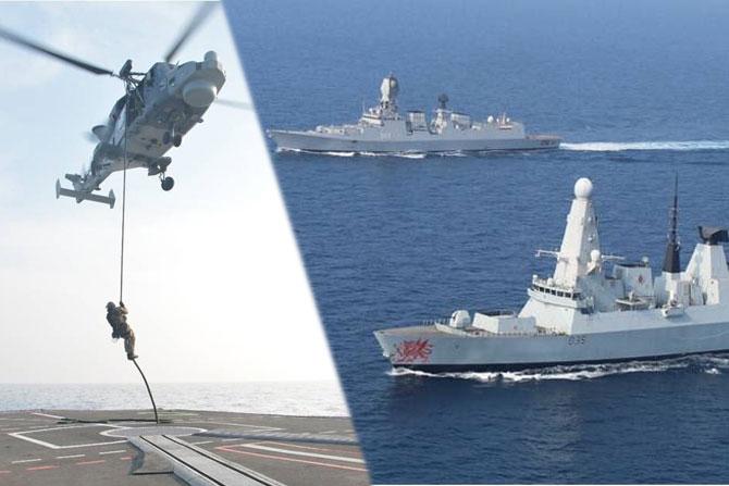 सध्या गोवा आणि कोकण किनारपट्टीवर युद्धनौकांचा संचार वाढला आहे. नाही चिंतेचे काही कारण नाही कारण ही कोणत्या युद्धाची तयारी नसून भारतीय नौदल आणि ब्रिटनच्या रॉयल नेव्हीचा एकत्रित सराव सुरु आहे. एक्सर्साइज कोकण २०१८ या नावाने हा संयुक्त युद्धसराव सुरु आहे. यामध्ये भारतीय आणि ब्रिटीश नौदलातील युद्धनौका सहभागी झाल्या आहेत. पाहूयात यात युद्धनौकांच्या सरावाचा हा कोकण किनारपट्टीवरील थरार...