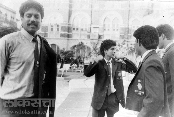 क्रिकेटर कपिल देव आणि सचिन तेंडुलकर. (एक्स्प्रेस फोटो)