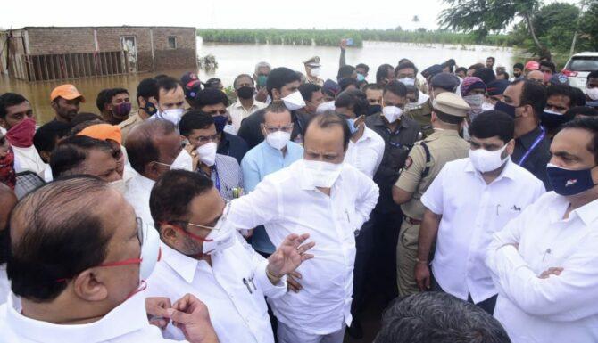 Ajit Pawar in Kolhapur flood
